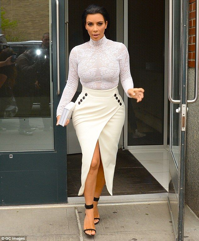 Making a bold exit  Kim Kardashian is seen leaving her New York apartment  on Tuesday 43ba14f47