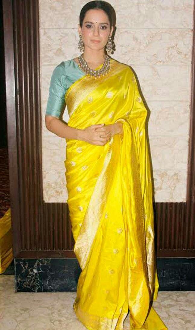 Kangana Ranaut in bright yellow silk sari | Elegant saree, Saree ...