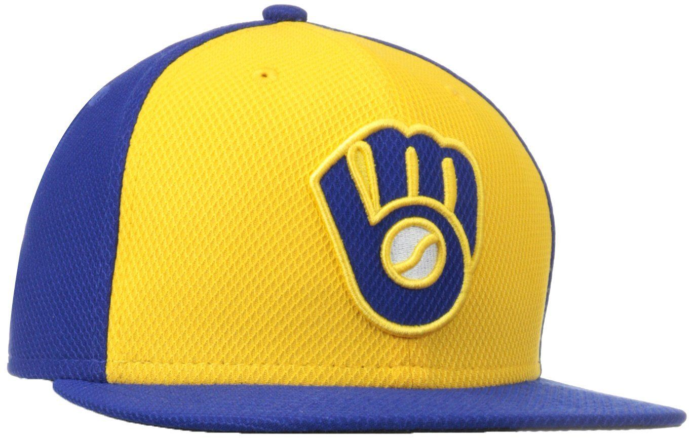 ad1cdaae93cc6 MLB Milwaukee Brewers Alternate Batting Practice 59Fifty Baseball Cap  Gold Blue Milwaukee Brewers Adult 7 1 2  Amazon.com.mx  Deportes y Aire  Libre