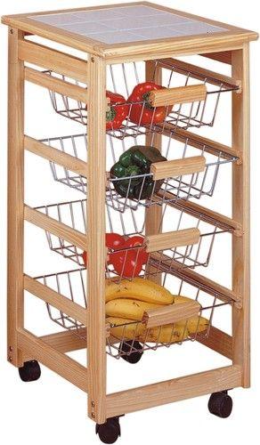 Verdulero 4 cestas | Pinterest | Cestas, Mesa auxiliar cocina y Cocinas