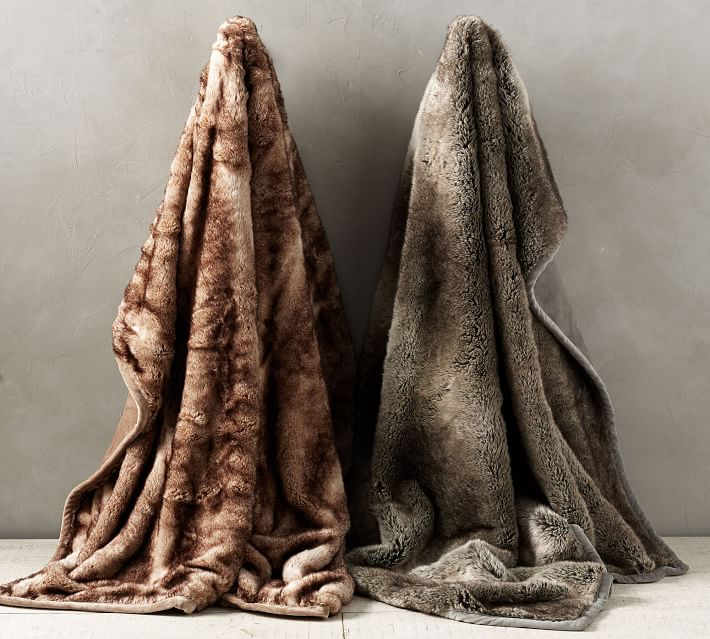 Faux Fur Ombre Throw Blankets | Pottery Barn