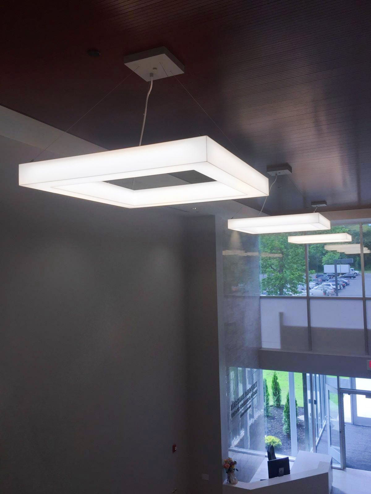 Novato Frames lobby installation. SPI Lighting. & Novato Frames lobby installation. SPI Lighting. | Architectural ...
