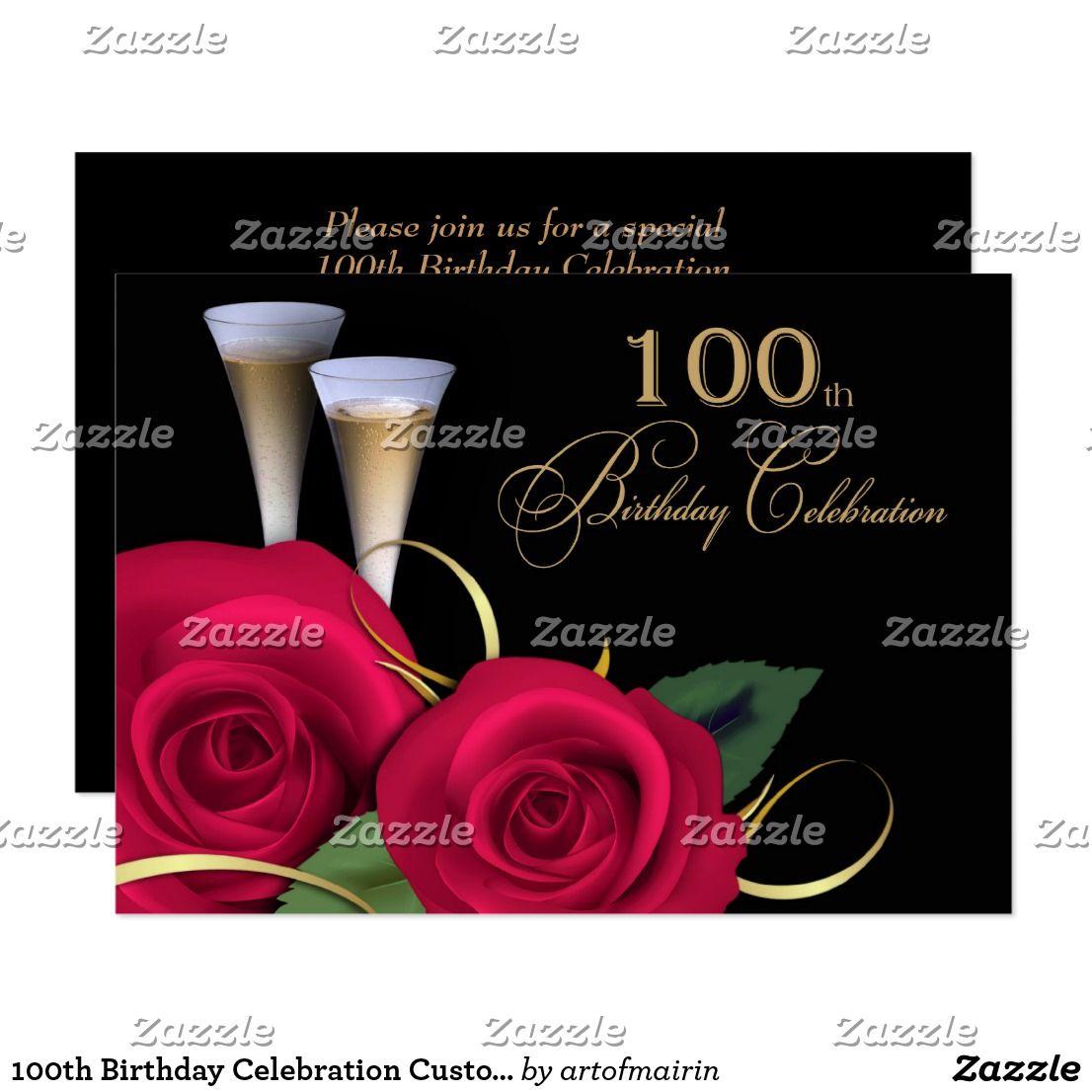 100th Birthday Celebration Custom Invitations | Custom invitations ...