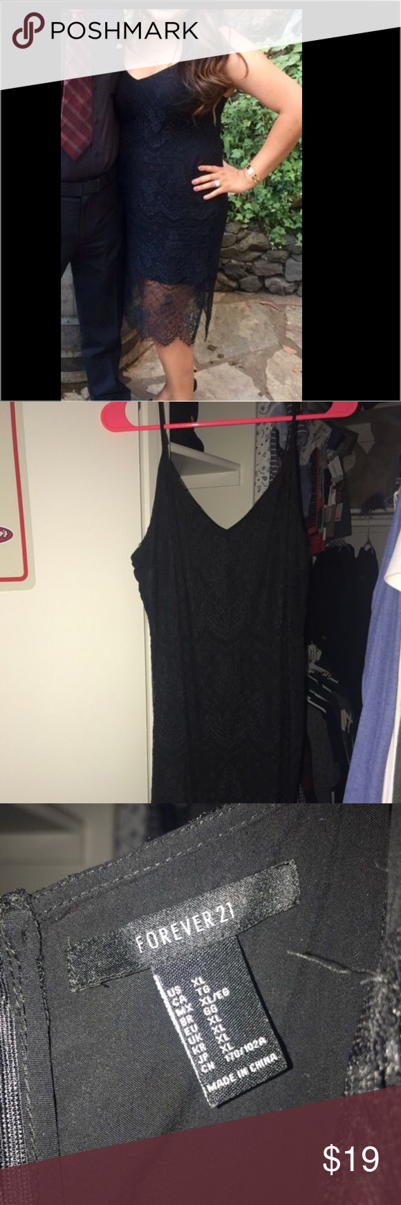 Black lace dress Used once for wedding Forever 21 Dresses High Low