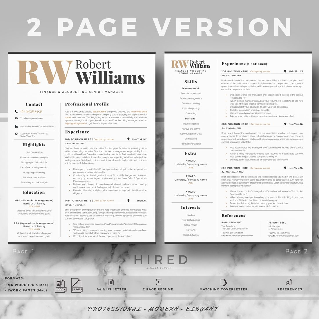 Modern Professional Resume Template For Word Or Mac Pages Etsy Resume Template Professional Cover Letter For Resume Resume Template