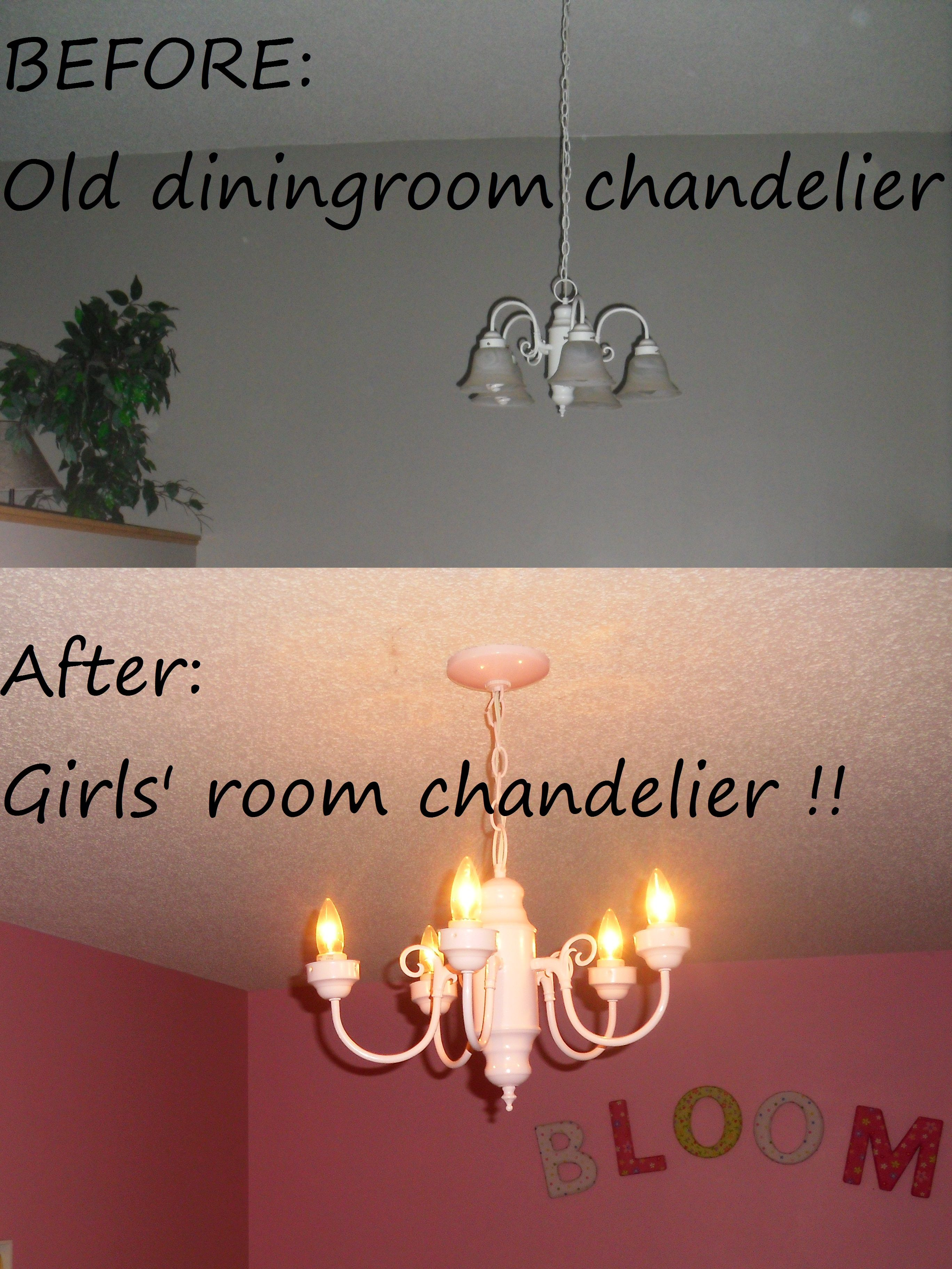 Girl chandelier re do transform your old chandelier to a little girl chandelier re do transform your old chandelier to a little girls bedroom chandelier project arubaitofo Choice Image