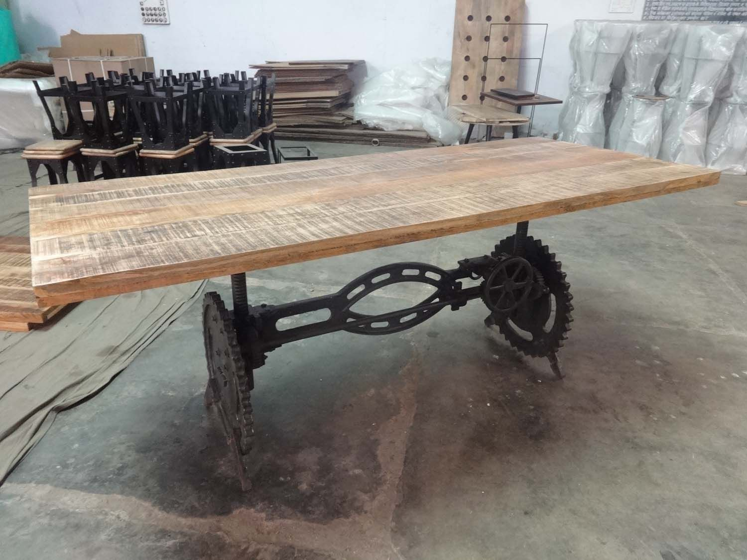 Industrial Crank Table. Wooden Rough Top.