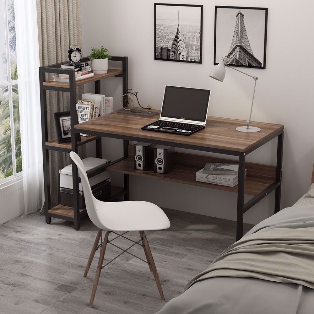 Tribesignsprimemonth Upto15 Off Computer Desk W 4 Tier Storage Shelves For Home Office In 2020 Home Office Table Computer Table Desk