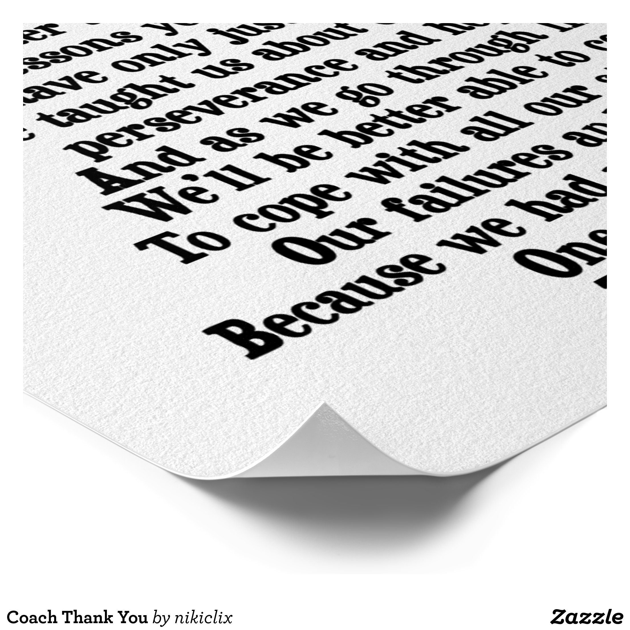Coach Thank You Poster Zazzle Com In 2020 Thank You Poster Coach Appreciation Gifts Favorite Quotes