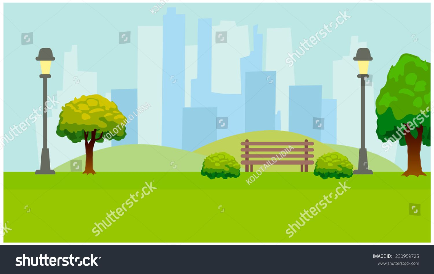 City Park Lights Trees Bench Green Horizontal Background Flat Vector Illustration Sponsored Graphic Design Business Vector Illustration Business Design