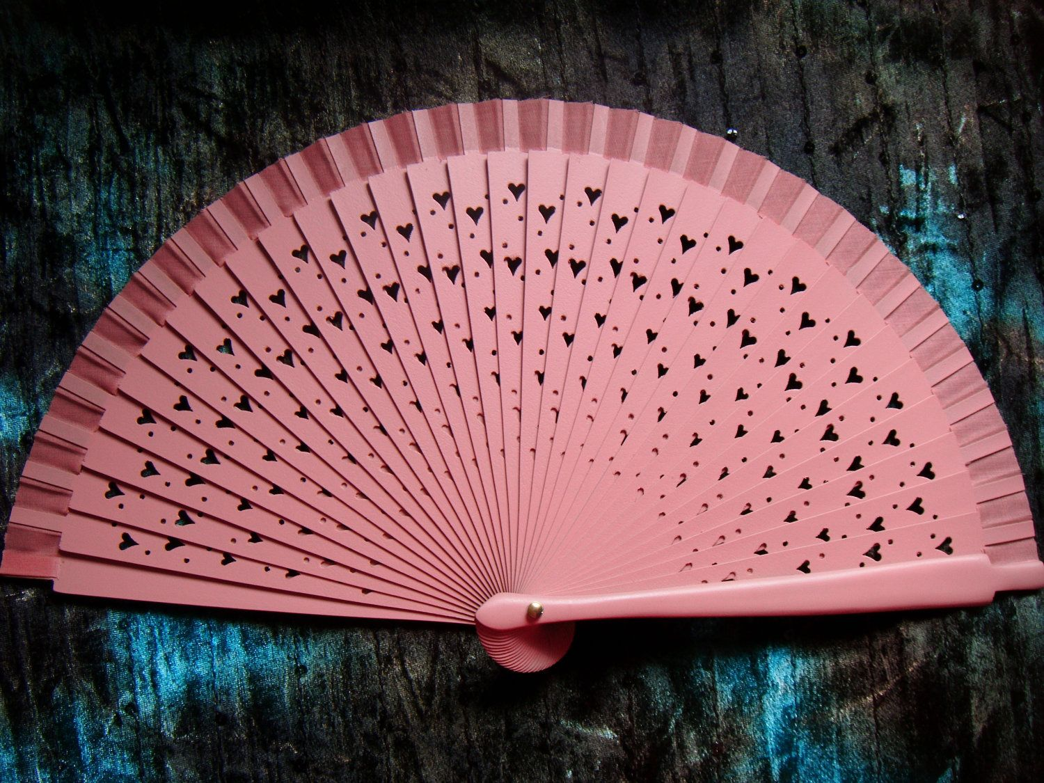 PEACHY Pink Wooden Heart Spanish Hand Held Fan Traditional Flamenco ...