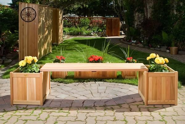 $374.00 All Things Cedar Planter W/ Bench Great For Corners, Patio And Decks.  3pc. Set Includes 2 Planters And 1 Bench. 5pc. Set Includes 3 Planters And  2 ...