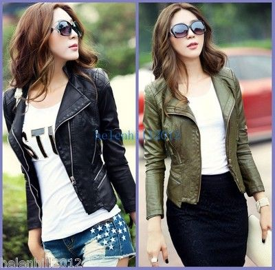 Army Green Black Womens Punk Studded Shoulder Pu Leather Jacket Coat