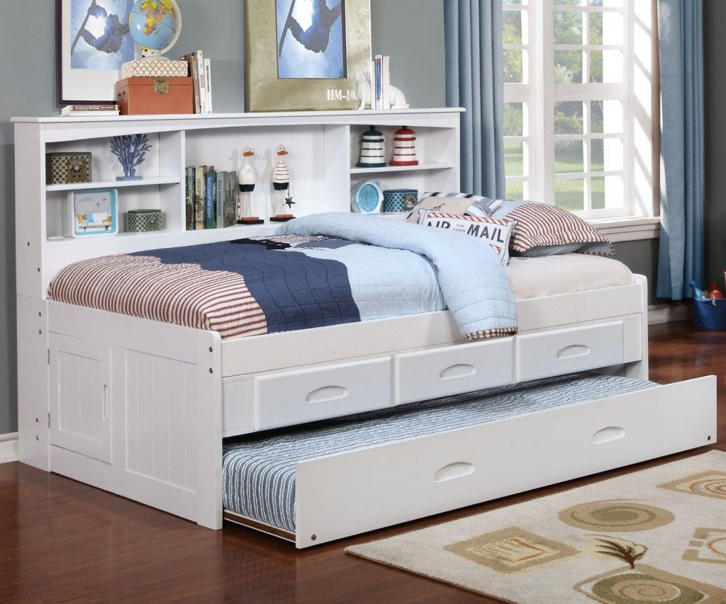 White Twin Bookcase Daybed White daybed with trundle