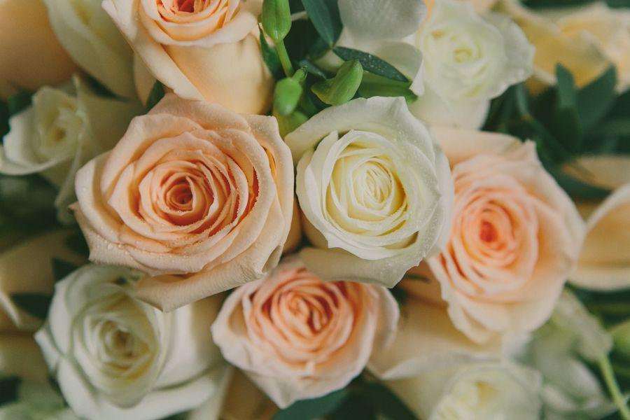 Bouquet avalanche roses, Singapore orchids & eucalyptus