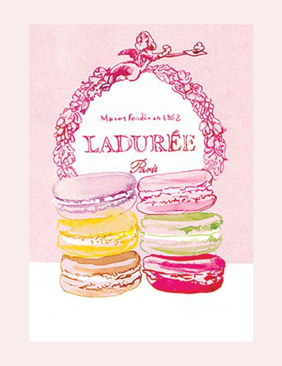 Ladurée Paris Macaroons  A3 giclée print by mbaileyillustrations