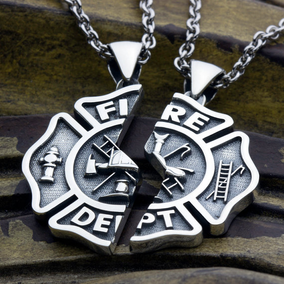 Maltese Cross Fireman couples interlo Firefighter and beloved Wife Necklace set