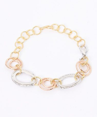 Love this Tri-Tone Oval Link Bracelet on #zulily! #zulilyfinds