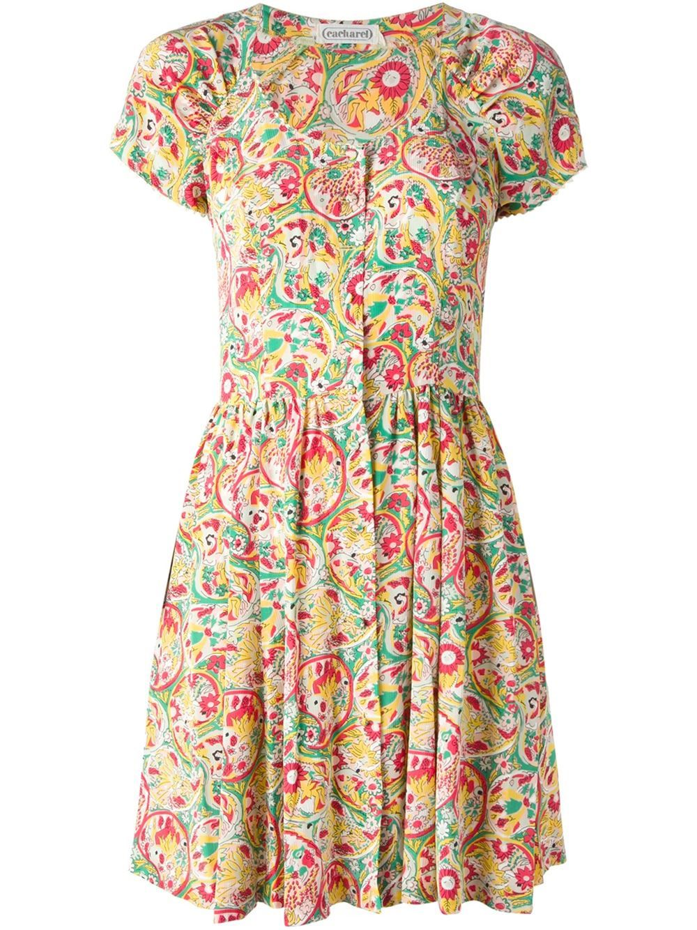 CACHAREL VINTAGE floral print skater dress farfetch.com | Cacharel ...