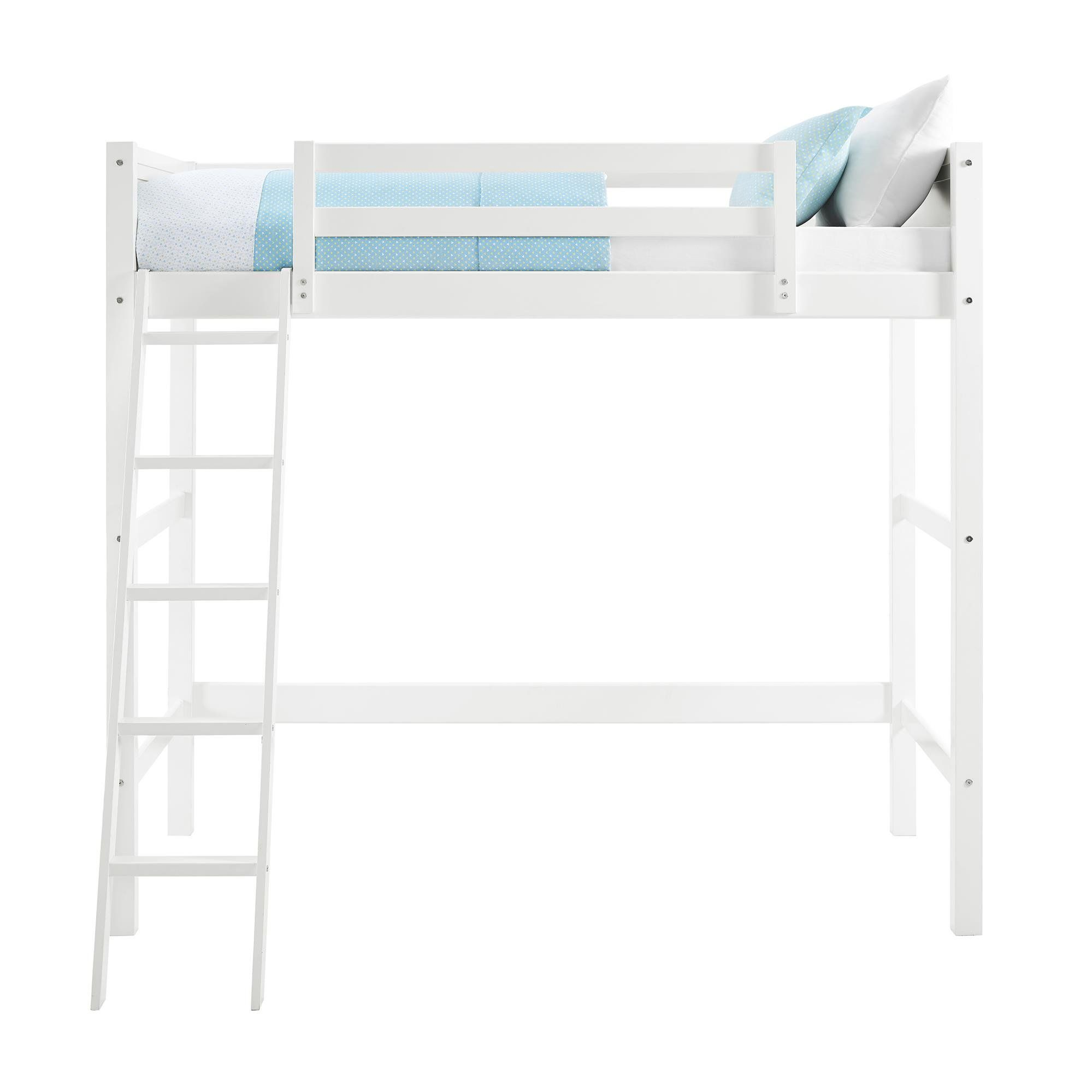 Your Zone Kids Wooden Loft Bed With Ladder Full White Walmart Com In 2021 Twin Loft Bed Loft Bed Loft Bed Frame