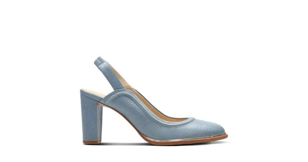 aad61f1a10 In a pale blue shade, these slingback shoes feature magpie stitching from  the archives and a modern metallic silver edge. Comfort is guaranteed  thanks to ...