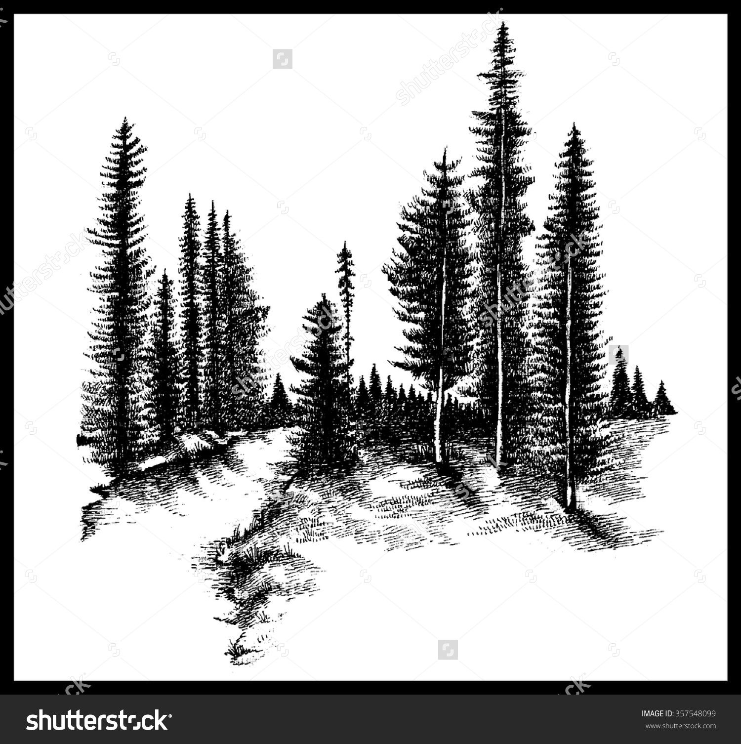 Pine Tree Forest Outline Clipart ClipartFest - 1500x1506 ...