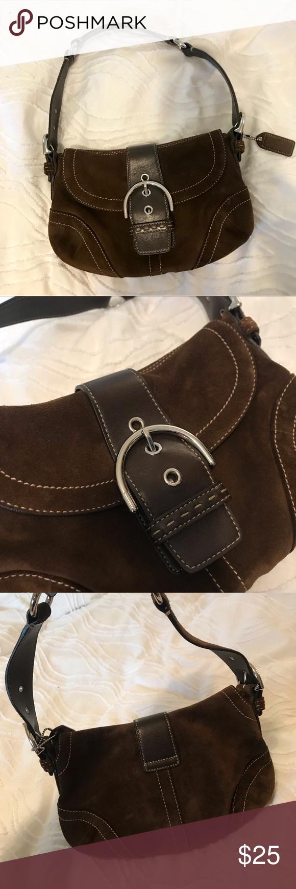COACH Small Brown Suede Hobo Shoulder Bag Great condition small brown Coach  bag Coach Bags 854fb52d12