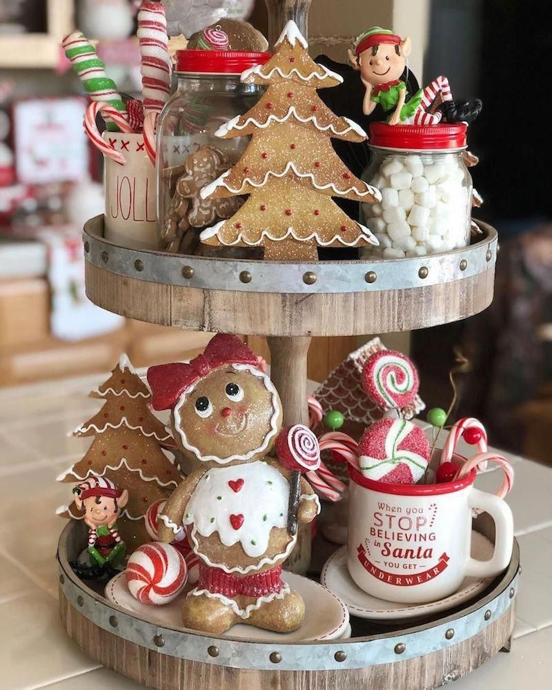 Tiered Tray with Gingerbread Cookies and Sweets Kitchen