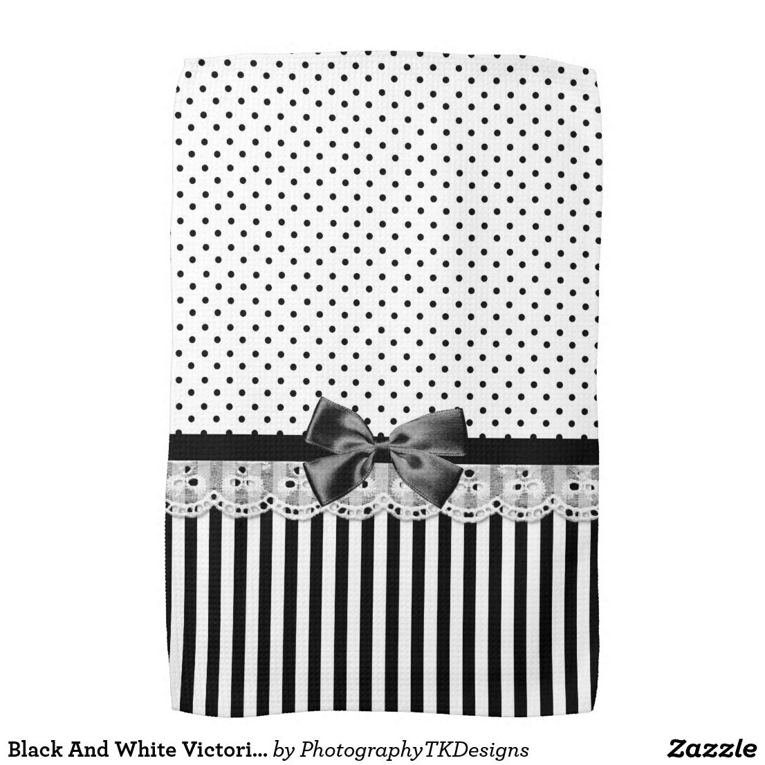 Black And White Victorian Stripes With Bow Towel Zazzle Com