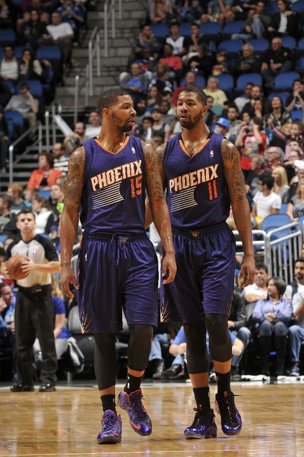new style 22917 295de Marcus Morris wearing Nike Lebron XI iD and Markieff Morris wearing Nike  Air Foamposite One- Suns