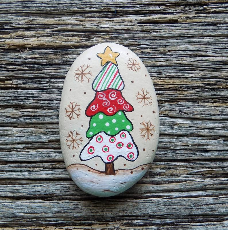 Whimsical Tree Painted Rocks Decorative Accent Stone Image 0