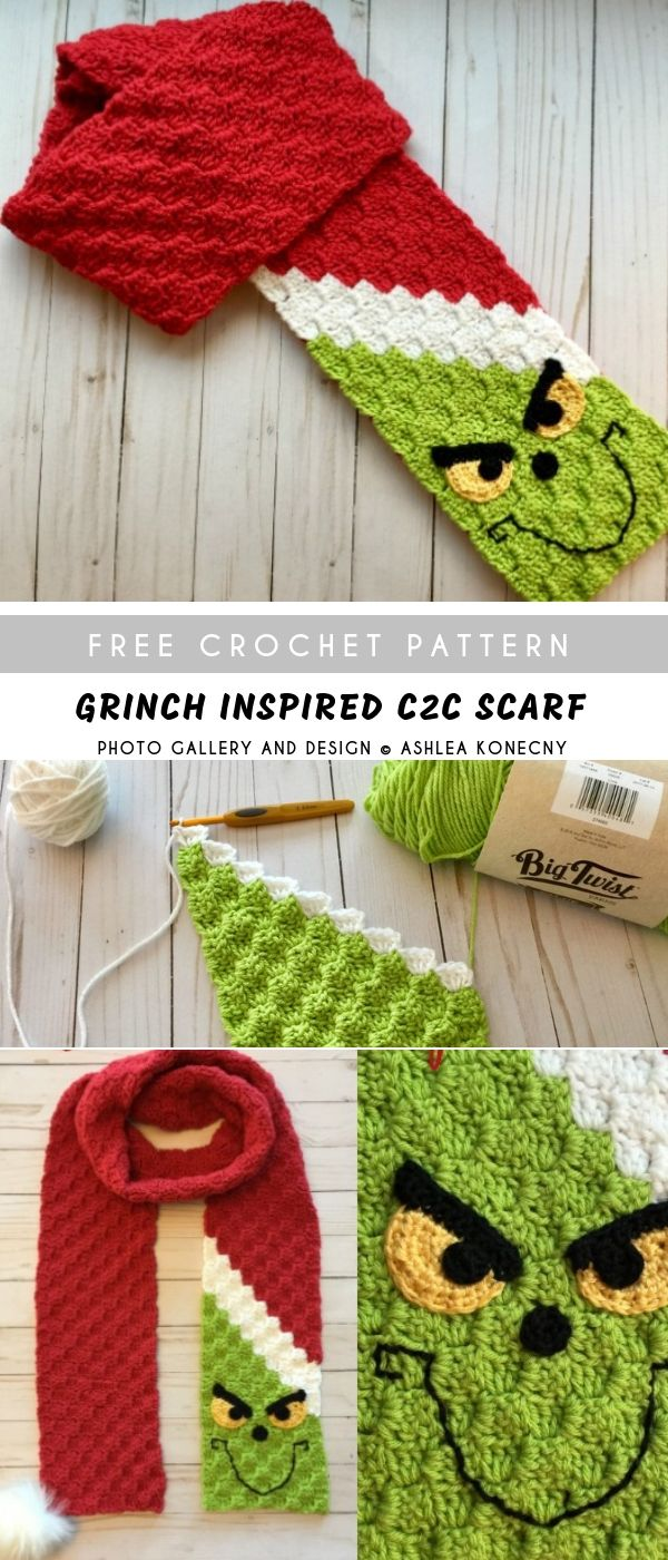 Grinch Inspired C2C Crochet Scarf Free #crochetscarves