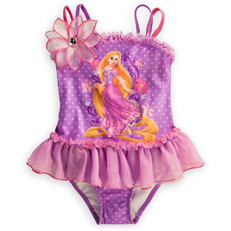 Disney Girls Rapunzel Swimsuit Purple