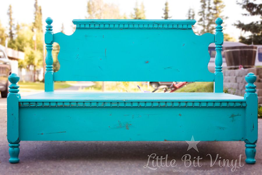 Super Cute Re-purposed bed frame into bench By: Little Bit Vinyl