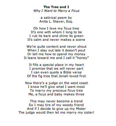 The Tree And I Why I Want To Marry A Ficus A Satirical Poem By