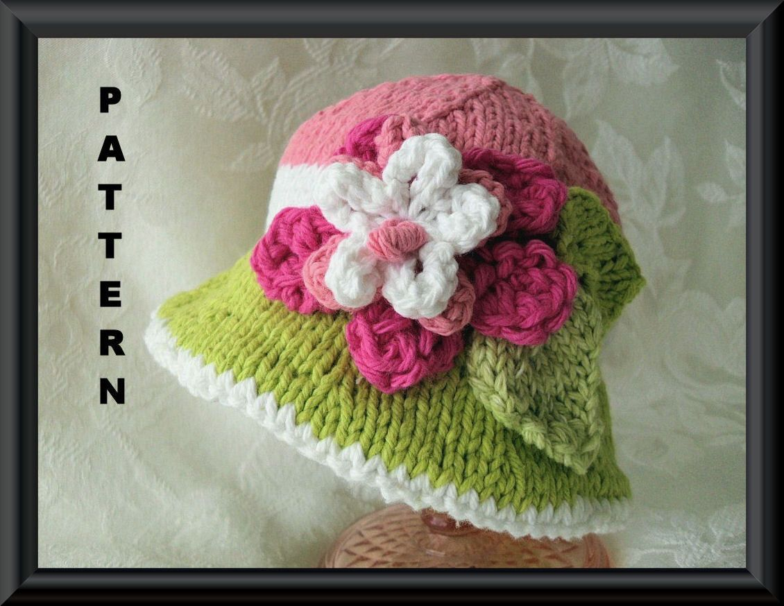 Knitting Pattern for Brimmed Baby Hat in Lime Green, White and Pink ...