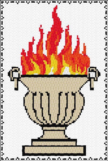 Zoroastrian Fire Symbol141598 Dragon cross stitch