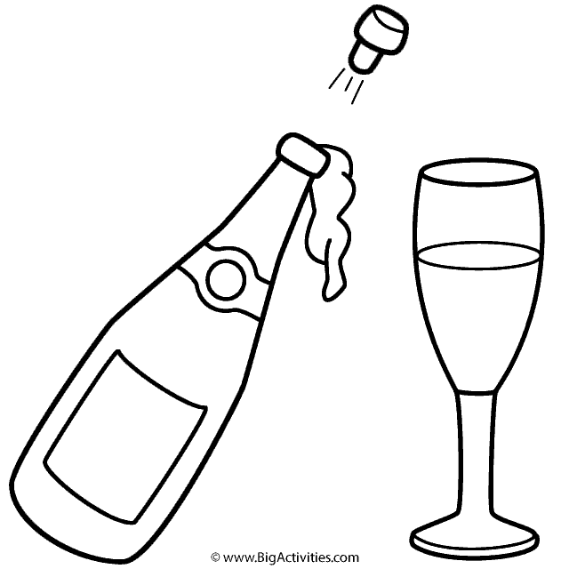 Champagne Bottle And Glass Coloring Page New Years Wine Bottle Drawing Bottle Drawing Champagne Bottle