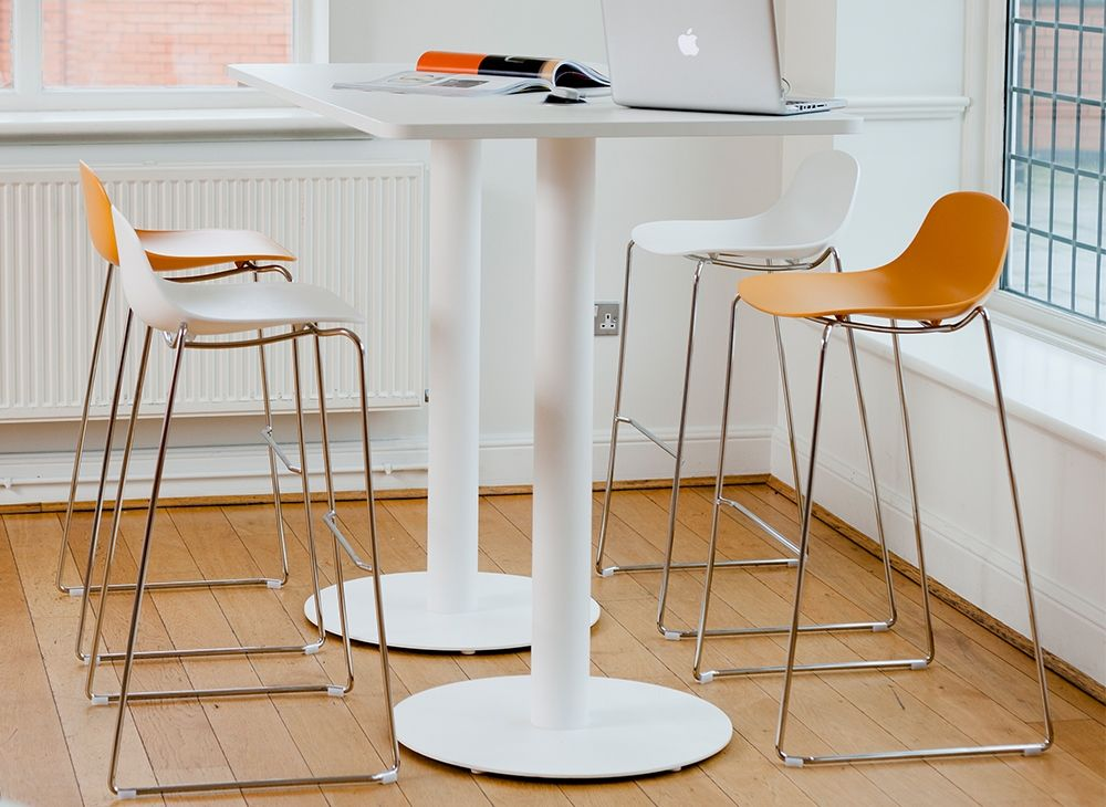 high table with trumpet metal legs by boss design rh pinterest com high tables for office High -End Home Office Desks