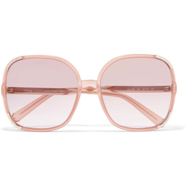 53a202062519 Chloé Myrte square-frame acetate and gold-tone sunglasses (51290 RSD) ❤  liked on Polyvore featuring accessories