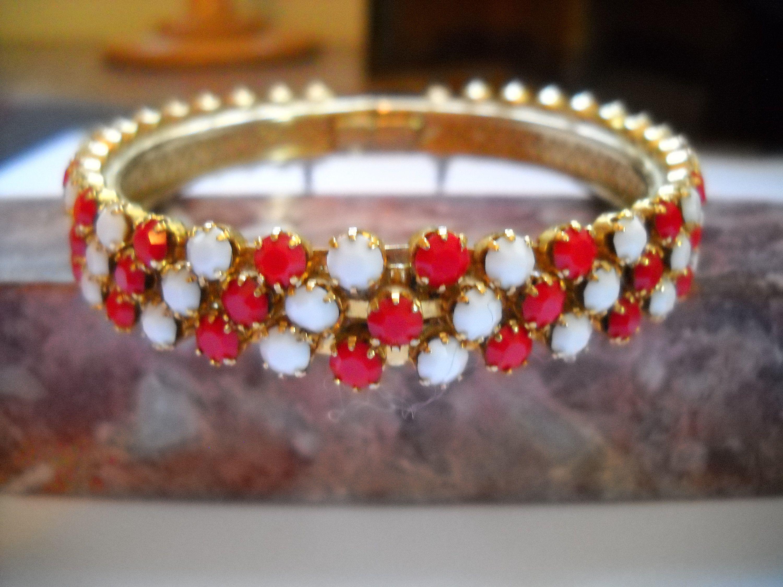 Beautiful Vintage Bracelet Victorian Revival Hinged Bangle Red Clear Rhinestones