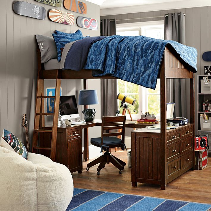 remarkable boys bedroom ideas loft bed | Mixing Work With Pleasure - Loft Beds With Desks ...