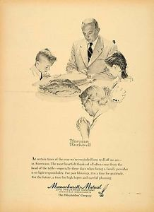1957 Ad Massachusetts Mutual Insurance Thanksgiving Prayer Art