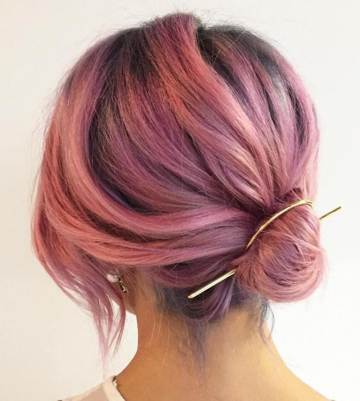 Low Bun For Pastel Pink Hair Short Hairstyle Pinterest Pastel