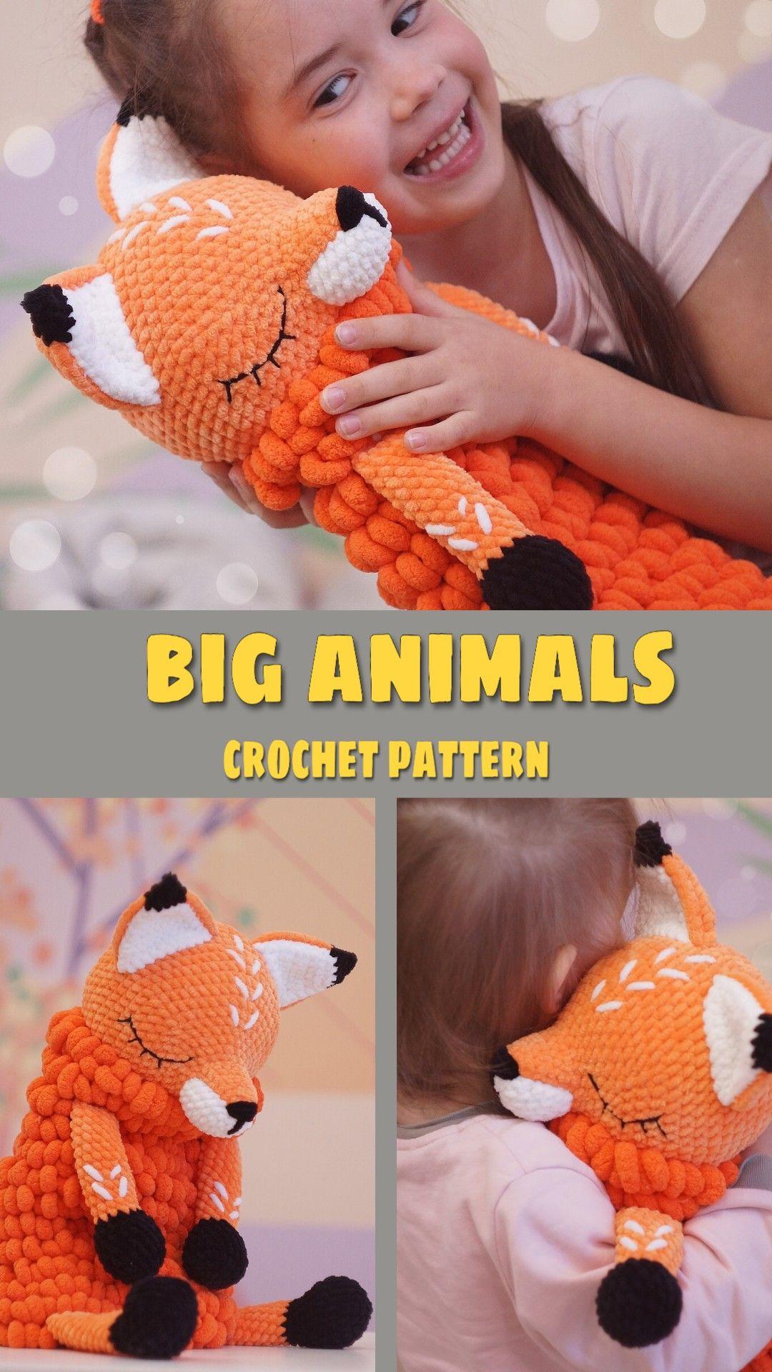 Crochet Fox PATTERN, Amigurumi tutorial BIG Softy toy Fox pattern Lovey Toy CROCHET  sleepy stuffed