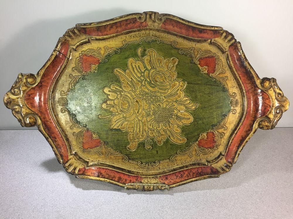 Handmade Tray Decoration Alluring Vintage Decorative Florentine Florentia Wooden Serving Tray Hand Design Decoration