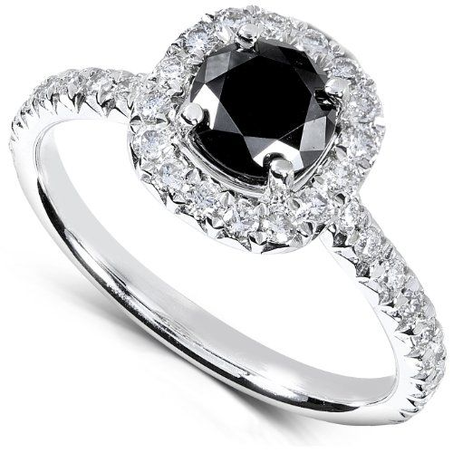 Engagement Rings Simple 1 16 Carat Tw Black And White Round Diamo Black Diamond Ring Engagement White Diamond Rings Engagement Round Diamond Engagement Rings