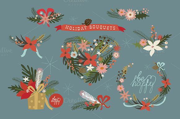 Check out Holiday bouquets by Darish on Creative Market