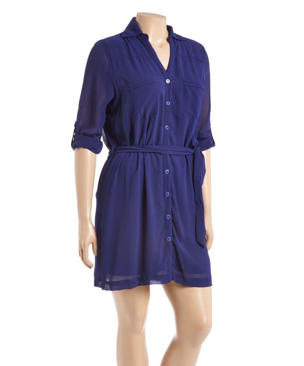 Navy twopocket tiesash shirt dress plus products