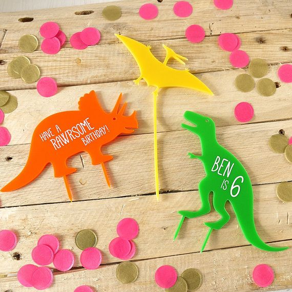 Fun CUSTOM laser cut acrylic dinosaur cake topper set, featuring a ...